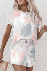 Graues Tie Dye T-Shirt und Shorts Set