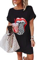 Черное летнее повседневное мини-платье с принтом губ