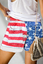 Bendera Amerika Serut Kasual Celana Pendek Saku Pinggang Elastis