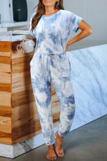 Blauer Taschen-Strickoverall mit Taschenfärbung
