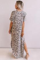 Casual Leopard Maxi φόρεμα με σχισμές