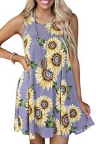Purple solsikkeprint Tank kjole