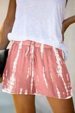 Roze tie-dye casual short met trekkoord