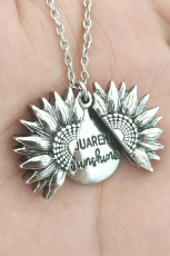 You Are My Sunshine Silver Sunflower Pendant Necklace