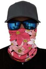 Piros virágmintás arcmaszk és nyakmelegítő nap UV-védelemmel