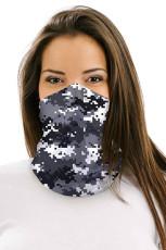Grijze digitale camouflageprint Multifunctionele hoofddeksels Gezichtsmasker Hoofdband Neck Gaiter
