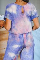 Mehrfarbiger Taschentuch-Strickoverall mit Taschenfärbung