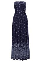 Blå Bohemian Bandeau Floral Print Maxi kjole