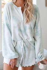 Sky Blue Tie Dye Knit Pyžamo Sada