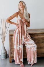 Pink Spaghetti Strap Tie Dye Baggy lange Hosen Strampler