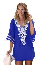 Kîtekîta Blue Crochet Mesh Sleeve Chiffon Beach Cover Up