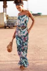 Grøn Bohemian Bandeau Print Maxi kjole