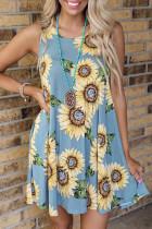Blå solsikkeprintkjole med tryk