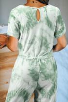 Grüner Taschen-Strickoverall mit Taschenfärbung