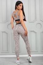 Klasik Leopard Print Celana Bra Aktif Yoga Set