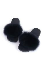 Black Fox Fur Feather Flache Sohlen Hausschuhe
