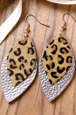 Luipaardprint dubbellaagse zilveren lederen oorbellen