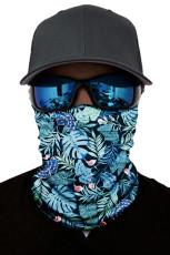 Zöld trópusi nyomtatású arcmaszk és nyakmelegítő nap UV-védelemmel