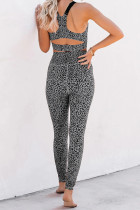 Gray Cheetah Print Sport Bra Pants Set