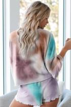 Vícebarevná pletená pyžamová souprava na barvení kravaty