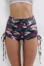 Grønt Camo Print High Waist Side Ruched Fitness Yoga Shorts
