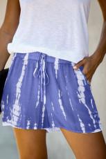 Blauwe Tie Dye Drawstring Casual shorts