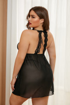 Black Plus Size Stretch Mesh and Lace High Neck Babydoll