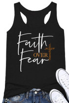 Leopard Printed Cross Faith Over Fear Tank