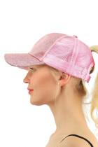 Gorra de béisbol Pontail con purpurina rosa brillante