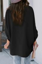 Zwart V-hals 3/4 mouw hoog laag zoom overhemd