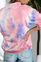 Pink Cotton Tie-dye Mock Neck Sweatshirt