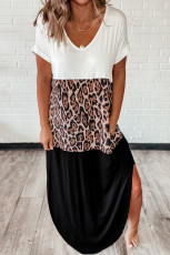 Blaster Leopard Cotton Blend Casual Maxi T-shirt Dress