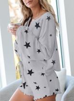 Set de pijamale tricotate cu print Star