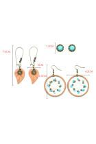 3 Pcs Bohemian Circle Hook Earring Set