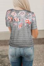 Impressão floral da mola cinzenta & T da listra