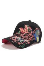 قبعة بيسبول بنقشة زهور أسود