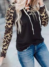 Schnürhals Leopard Langarm Oberteil