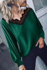 V Neck Lace Patchwork Blusa Verde