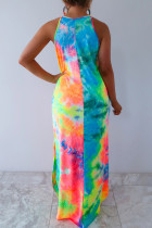 Tie-dye multicolor Sleeveless Maxi Dress with Pockets