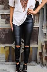 Sort tynde faux læder leggings