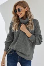 Grå lanterne ærme Turtleneck Pullover Sweater