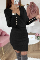 Black Wrap V Neck Batwing Sleeves Ribbed Sweater Dress