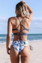 블루 홀터 링 열 십자 늑골이있는 프린트 원피스 수영복