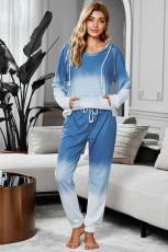 Biru Utopia Cotton Blend Tie Dye Hoodie Joggers Loungewear