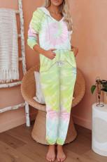Yellow Utopia Cotton Blend Tie Dye Hoodie Joggers Loungewear