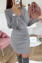 Gray Wrap V Neck Batwing Sleeves Ribbed Sweater Dress