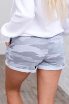Серые хлопковые шорты с камуфляжным принтом