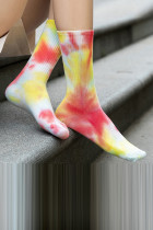 Red Tie-dye Mid-length Stockings