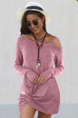 Cold Shoulder Twist Knit Minikleid