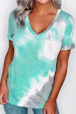 Sky Blue Lace Pocket Krawatten-T-Shirt mit V-Ausschnitt